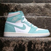 Air Jordan 1 T High tops Contrast Sneakers Basketball shoes AJ1 Beacon Lake Green Shoes