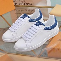 LV Louis Vuitton Fashion Woman Casual Leather Shoes Flats Shoes White&Blue