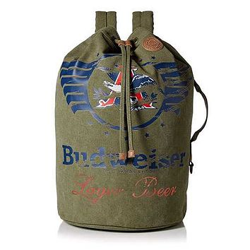 Buxton Budweiser Eagle Wings Drawstring Bucket Bag Olive
