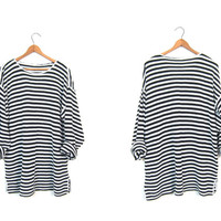 Oversized Textured Cotton Shirt 90s Striped MINIMAL LOOK Nubby Tunic Top Black White Long Sleeve Slouchy Thin Sweater Shirt Womens XL Large