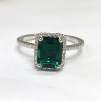 Emerald Engagement Ring 14K White Gold!Diamond Wedding Bridal Ring,6x8mm Emerald Cut Green Emerald,Halo,Can make Matching Band,Fine Ring