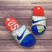 Nike Woman Men Fashion Casual Multicolor Sandals Slipper Shoes Red