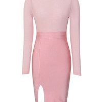 Bella Pink Mesh Long Sleeve Bandage Dress
