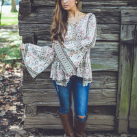 Floral Paisley Top in Mocha