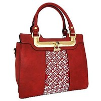 Rhinestone Bling Fashion Handbag Purse w/ Shoulder Strap Red