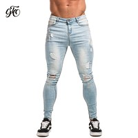 Gingtto Ripped Jeans For Men Distressed Skinny Jeans Streetwear Light Blue Lightweight Stretch Denim Pants Men Slim Fit zm11