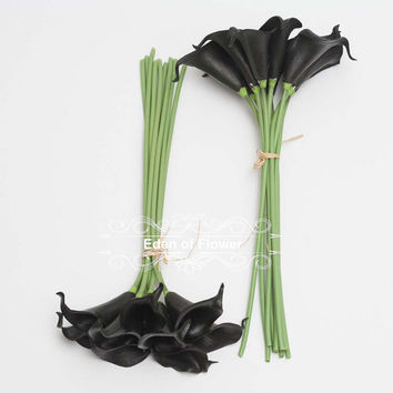 Black Calla Lilies Real Touch Calla Lily Bouqet for Bridal Bouquets, Wedding Centerpieces, Home Decorations, Boutonnieres, Corsage