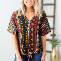 Tribal Print Dolman Sleeve Top- Mustard