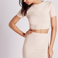 Missguided - Round Neck Bandage Ribbed Crop Top Nude