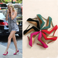 High Heel Pointed Toe Suede Shoes = 4814759236