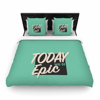 """Juan Paolo """"Epic Day"""" Vintage Teal Woven Duvet Cover"""