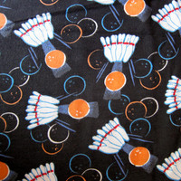 Bowling Print Cotton Flannel Sports Fabric Charcoal, Orange White and Aqua Pajama Fabric Apparel Sewing