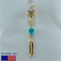 Gold Belly Button Ring with Turquoise Nugget and Feather