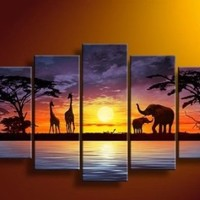 100% Hand-painted Best-selling Quality Goods Free Shipping Wood Framed on the Back Artwork African Elephant Tree Sun High Q. Wall Decor Landscape Oil Painting on Canvas 5pcs/set Mixorde