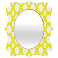 Lisa Argyropoulos Daffy Lattice Lemon Quatrefoil Mirror