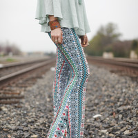 Border Striped Bell-Bottoms