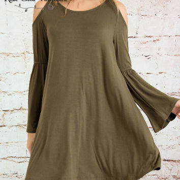 Bamboo Cold Shoulder Dress - Olive - Small only