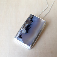 Stunning Dendritic Agate Pendant with Hand Fabricated Sterling Bezel and 925 Sterling Silver Rolo Chain, Statement Necklace Gemstone Jewelry