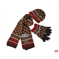 Louis Vuitton LV New Popular Women Men Plaid Pattern Warm Knit Hat Cap Scarf Gloves Set Three Piece 6# Coffee I-AJIN-BCYJSH