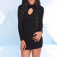 Black Knit Long Sleeve Dress with Cutout Front Detail