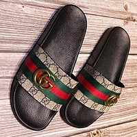 Hipgirls GUCCI Fashion New stripe more print leather women slippers shoes flip flop