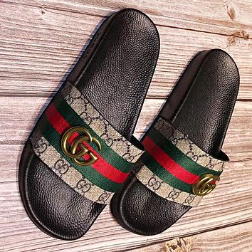 Hipgirls GUCCI Fashion New stripe more print leather women slippersshoes flip flop