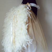 Soft White and Gold  Burlesque Long Bustle Belt by thetutustoreuk