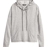 H&M - Hooded Sweatshirt - Gray melange - Ladies