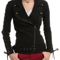 Joan Jett Tripp NYC Black Twill Moto Jacket