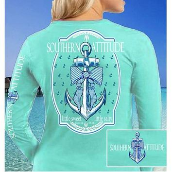 Country Life Outfitters Southern Attitude Anchor Big Bow Mint Vintage Girlie Bright Long Sleeves T Shirt