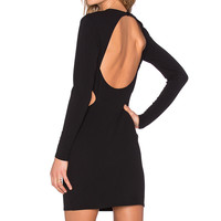 Twin Sister Cut Out Long Sleeve Dress in Black