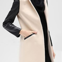 Beige Stand Collar PU Panel Long Sleeve Coat