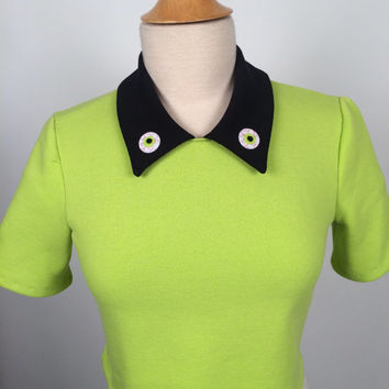 Lime Green Eyeballs Sweatshirt Collard Crop Top Halloween