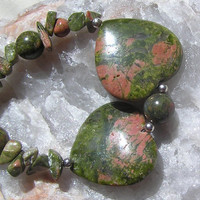 """Unakite Double Heart Gemstone Crystal Necklace - """"Two Hearts"""" - Special Offer Price"""