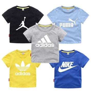 Girls adidas nike T-Shirt Tops Short Sleeve Summer Clothes for Kids
