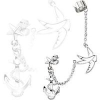 Star Stud Chain Ear WildKlass Ring with Swallow and Anchor Dangles with End Clip 316L Surgical Stainless Steel (Sold by Piece)