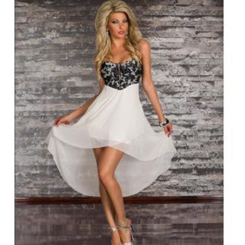 Vintage HI-LO Dress Hit New Color Wrapped Chest Chiffon Bustier Long Dress High Low Party Prom Lace Dress