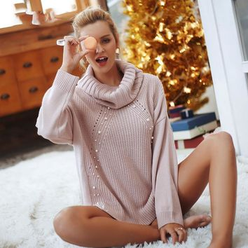 8DESS Beading turtleneck pearl plus size sweater Women Split casual knitted pullover sweater long sleeve jumpers