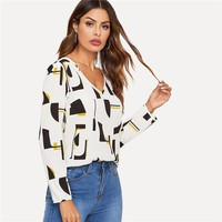 White V-neck Geometric Print Top Casual Blouse Women Long Sleeve Workwear Tops and Blouses