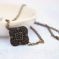 Simple Vintage Style Antique Gold Quatrefoil Metal Necklace - Handmade Jewelry - Ready to Ship