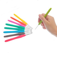 2015 Aluminum Crochet Hooks Kit TPR Handle Knitting Needles for DIY Crafts Needlework 9PCs Mixed 13.7cm = 1741683076