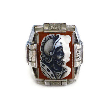 Ostby Barton Ring Sterling Silver Roman Warrior Glass Intaglio Mens Vintage Jewelry