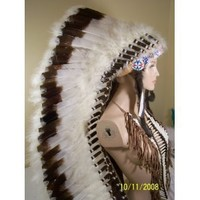 Deluxe Double Trailer Native American Feather Headdress, Reproduction