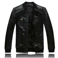 Skulls Short Skull Heads Genuine Leather Jacket Mens