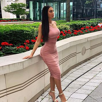 Fashion Solid Color Single Shoulder Sleeveless Bodycon Folds Dress