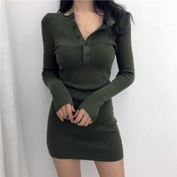 Ribbed Knit Long Sleeve Mini Dress