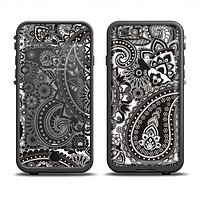The Black & White Pasiley Pattern Apple iPhone 6 LifeProof Fre Case Skin Set