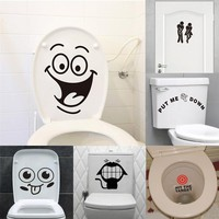 big mouth smile face toilet sign stickers bathroom decoration home decals mual art waterproof removable wall vinyl posters 342.