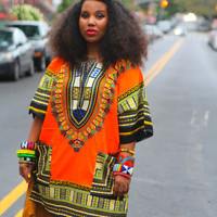 Orange Vintage Print Dashiki Pocket Shift Dress