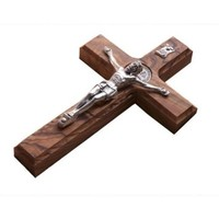 """10"""" Wall Wood Cross St. Saint Benedict & Medal Holy Land Handmade Silver Plated Crucifix"""